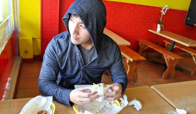 Blue Hoodigan Eats Burrito