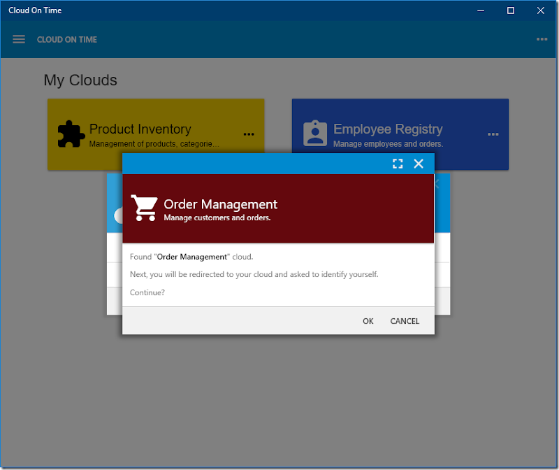 Adding Order Management cloud to native Universal Windows Platform app Cloud On Time.