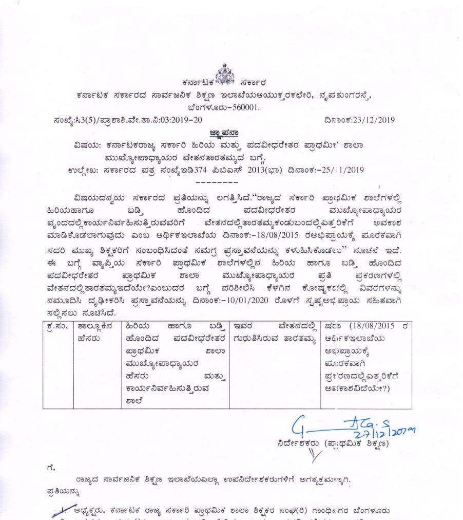 As Karnataka State Government Increases Salary of Senior and Non-Graduate Primary School Headmasters