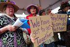 Portland's Raging Grannies sing against proposed Oregon coal exports to Asia in Pioneer Courthouse Square. (Photo by: Alex Milan Tracy)