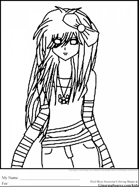 Awesome Hard Girl Coloring Pages With Emo Coloring Pages And Emo Hello  Kitty Coloring Pages