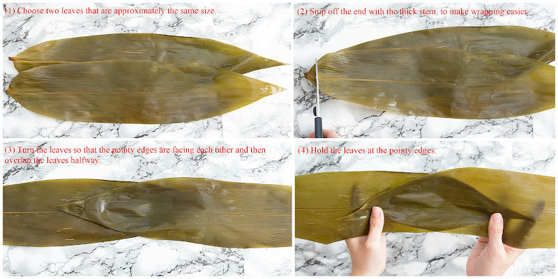 photo collage showing how to fold the bamboo leaves