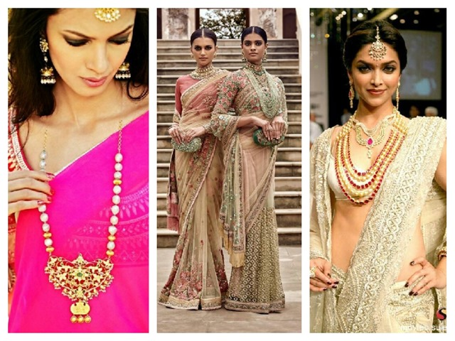 ways to style sarees with traditional pearl necklaces