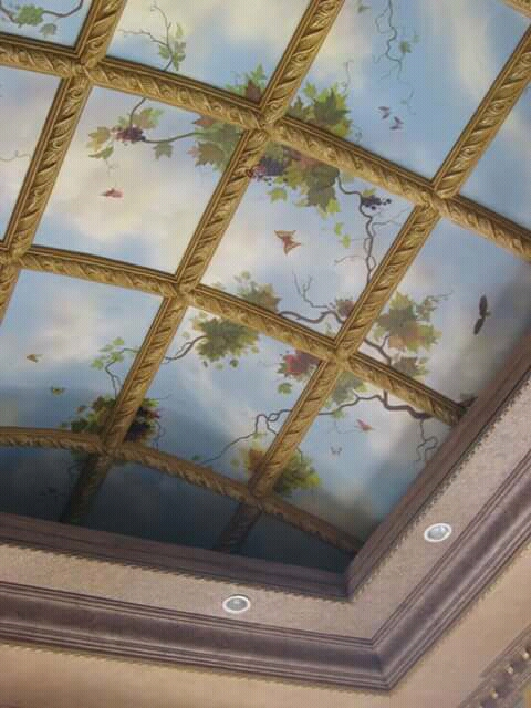 Mural and sky effect on ceiling