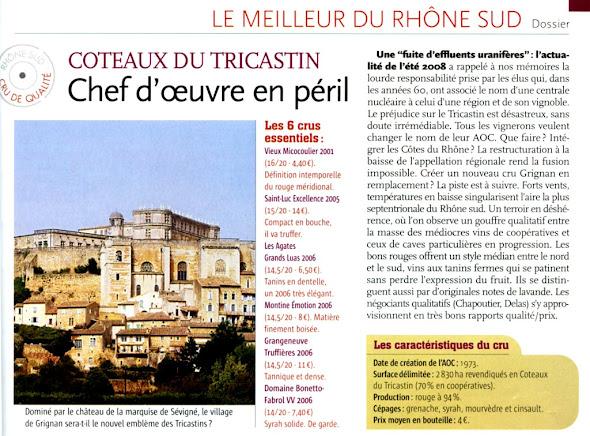 La revue du vin de France - Côteaux du Tricastin, chef d'œuvre en péril