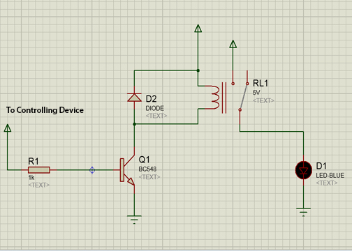 Relay Simulation in Proteous (Electromagnetic switch (Relay))