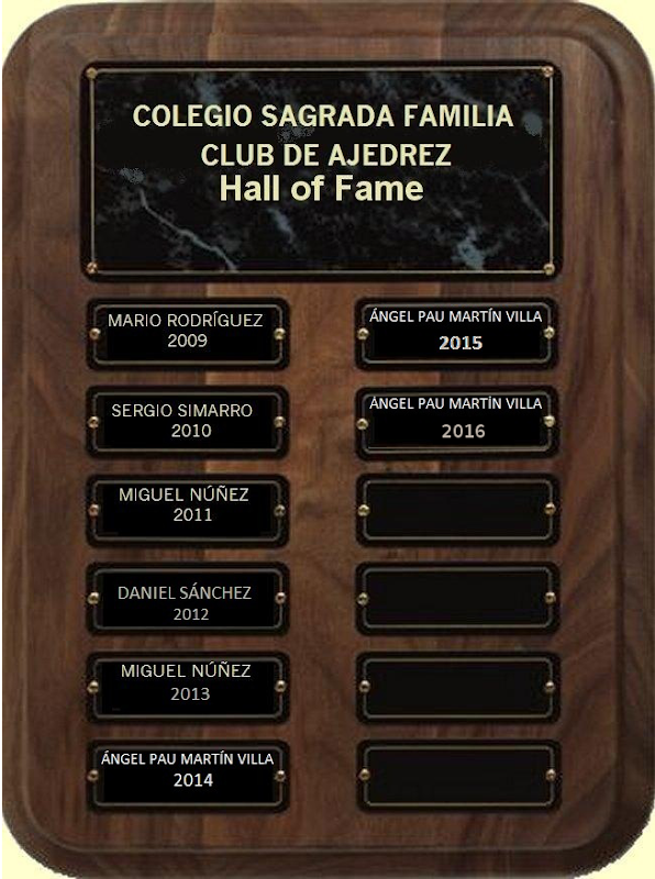 Hall of Fame Club Ajedrez               Colegio Sagrada Familia Pinto