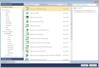 Nuevo proyecto Visual C# para screenshot