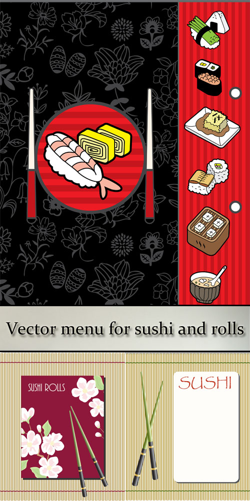 Stock: Vector menu for sushi and rolls