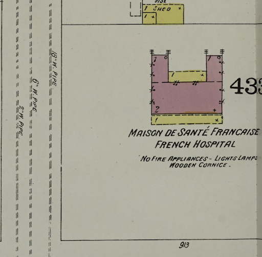 Image of French Hospital building footprint on map