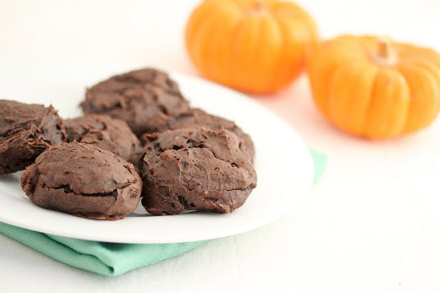 photo of a plate of chocolate pumpkin cookies