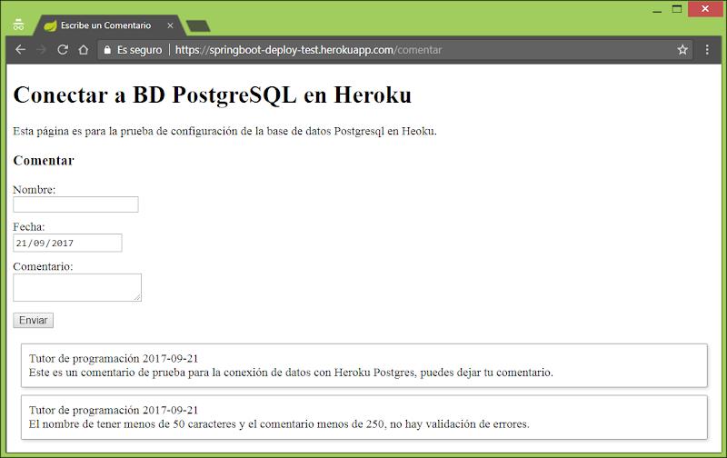 Applicación Spring Boot en Heroku Postgres