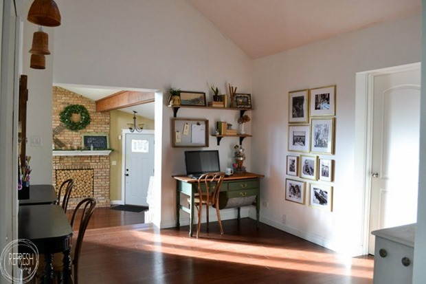 vintage-modern-boho-home-office-with-green-desk-natural-wood-chair-open-farmhouse-shelves-with-thrift-store-and-flea-market-finds-4-1-800x533