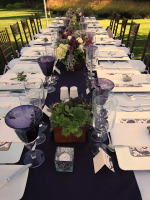 Tables at a destination wedding in La Conner Washington