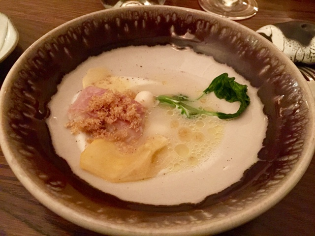 Warm smoked eel, bonito broth, quinoa, turnips in Texture restaurant in London
