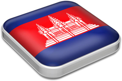 Flag of Cambodia with metallic square frame