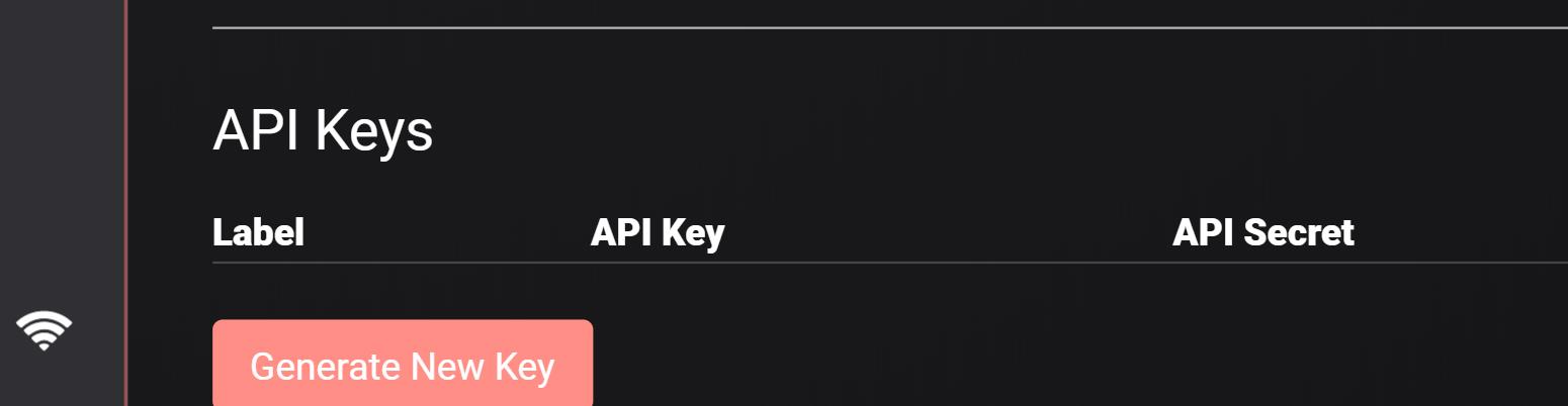 Vision de la section bitFlyer developer où vous pourrez récupérer votre clé API privée.