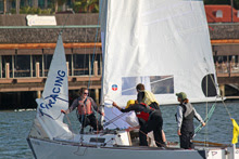 J/22 one-design sailboat- Nicole Breault winning crew in San Diego