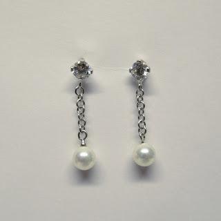 18K White Gold, Pearl & CZ Earrings