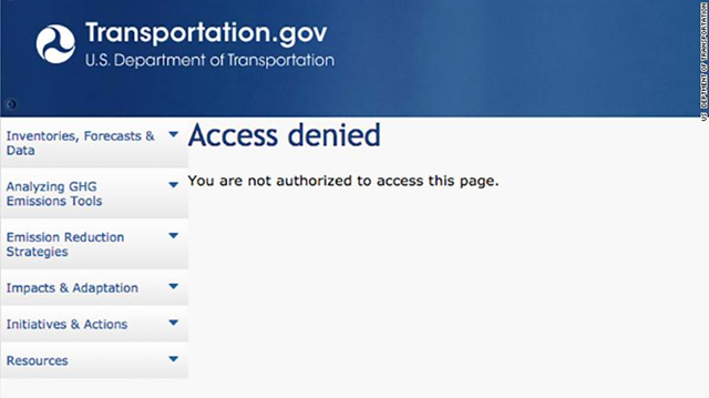 The U.S. Department of Transportation has wiped pages with information about climate change from its website. Graphic: U.S. Department of Transportation