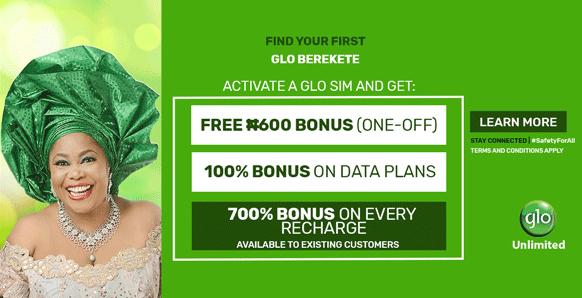 Introducing Glo Berekete Plan, Get 700% Airtime bonus, 5GB Free Data