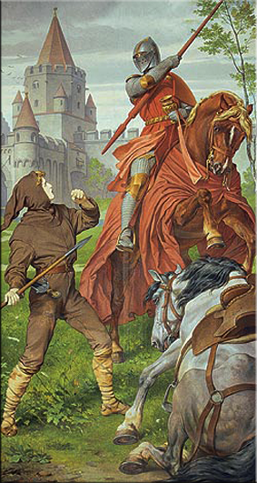 Lucha de Parsifal con el caballero rojo. Pintura mural de la Sala de los Cantores, August Spiess, 1883/84