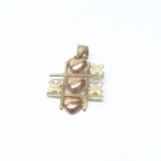 14K Yellow & Rose Gold Tic-Tac-Toe Pendant