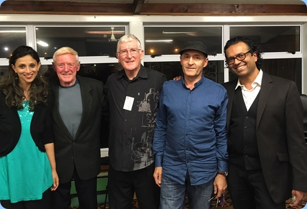 Acknowledgements at the end of a wonderful concert. Left to Right: Amrita Bhende (vocals); John Grogan (vocals); Gordon Sutherland (Club President); Jason Orme (drums); and maestro, Ben Fernandez (keys). Photo Courtesy of Rohan de Souza.