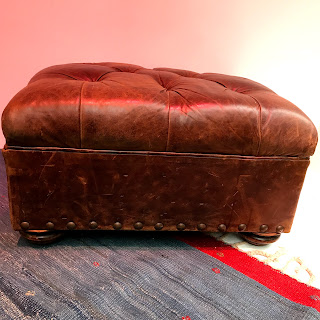 Distressed Leather Ottoman #2