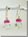 Cherry quartz cluster earrings