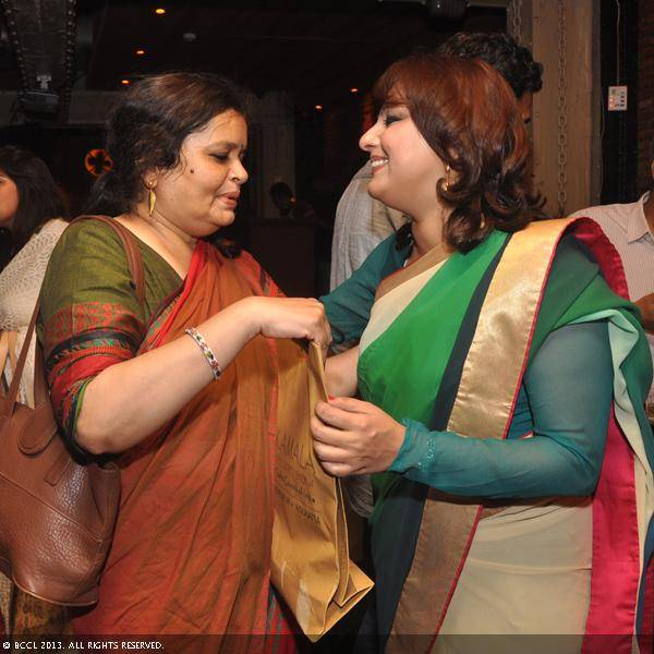 Vani Tripathi with a guest during her birthday bash, held in Delhi.