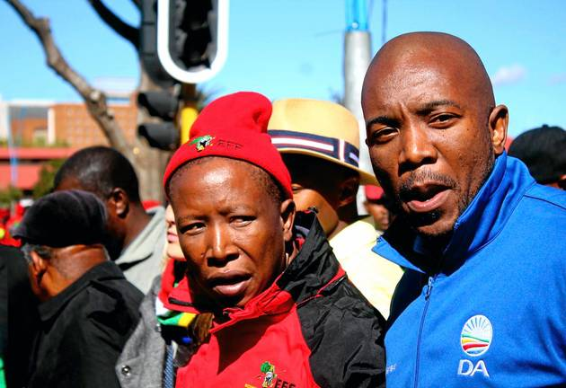 EFF leader Julius Malema and the DA's Mmusi Maimane.