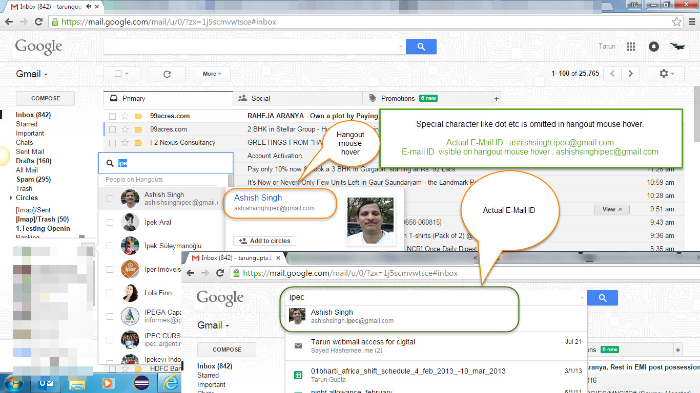 Google hangout mouse hover functionality is not working fine