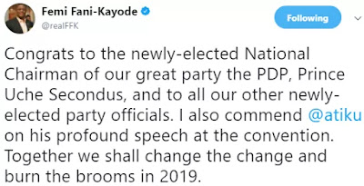 'Together we shall change the change and burn the brooms in 2019' FFK congratulates new PDP Chairman, Uche Secondus and Atiku Abubakar