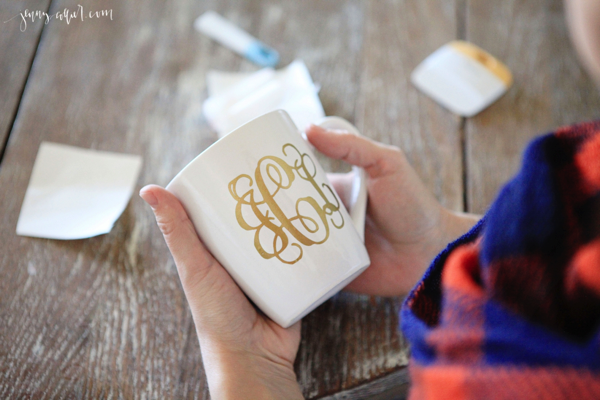 vinyl gold monogram on cup