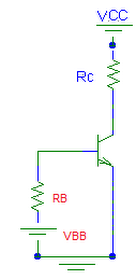 Transistor analizado para corriente continua