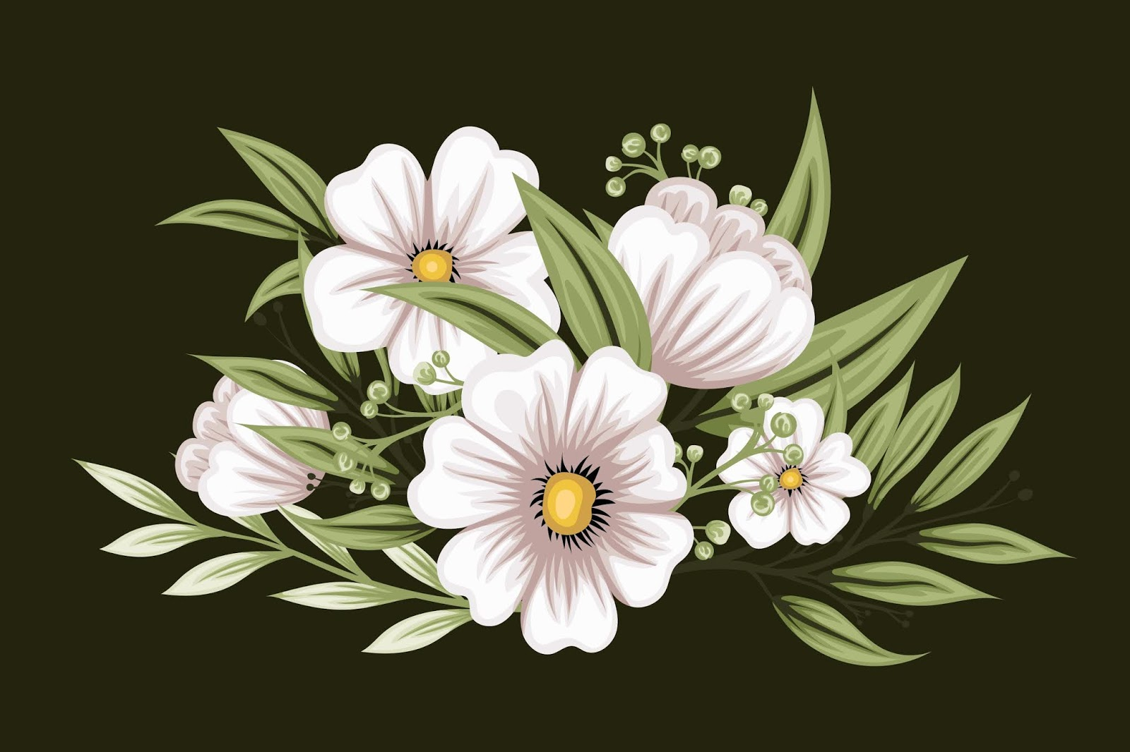 Beautiful White Bouquet Flowers Free Download Vector CDR, AI, EPS and PNG Formats