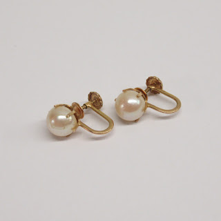 10K Gold and Faux Pearl Earrings