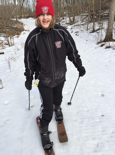 """Madeline testing out the new """"HOK"""" skis from Altai. We will have an assortment of these sizes in our rental fleet next year. Great skis for use in the backcountry, snowshoe trail, lake travel and anywhere outside of the groomed trails. A nice alternative if the tracks get fast!"""