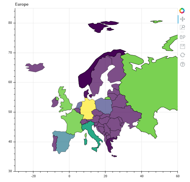 Mapping Europe with Bokeh (using GeoPandas, and handling