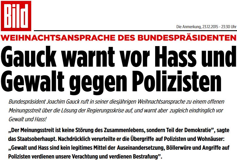 Gauck warnt vor Haß und Gewalt