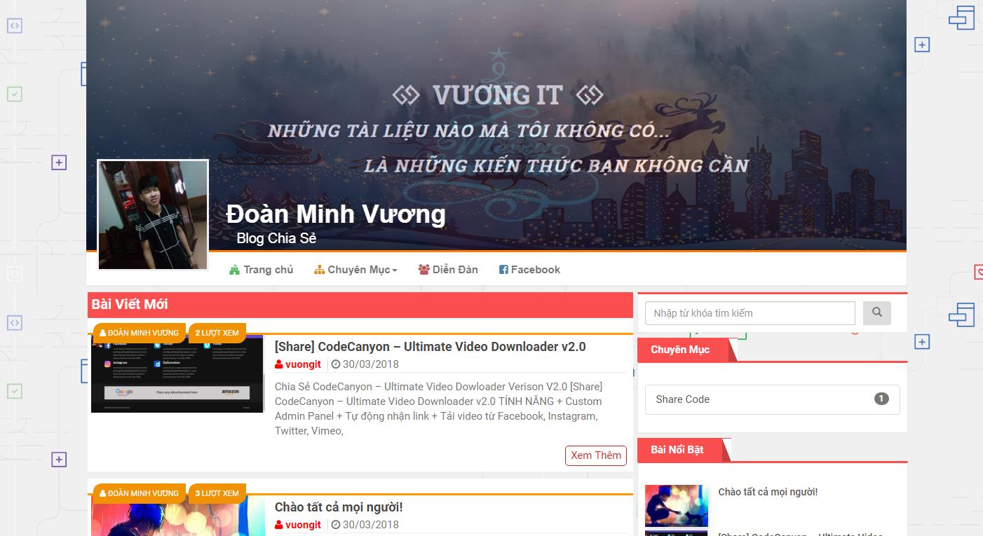 Chia Sẻ Theme Wordpress Làm Blog Chuẩn Seo Giống VuongIT.Com