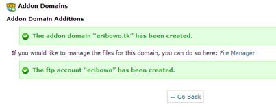Addon domain sukses ditambahkan