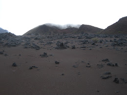 One of the may calderas within the crater.