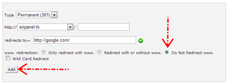 Tidak meredirect www