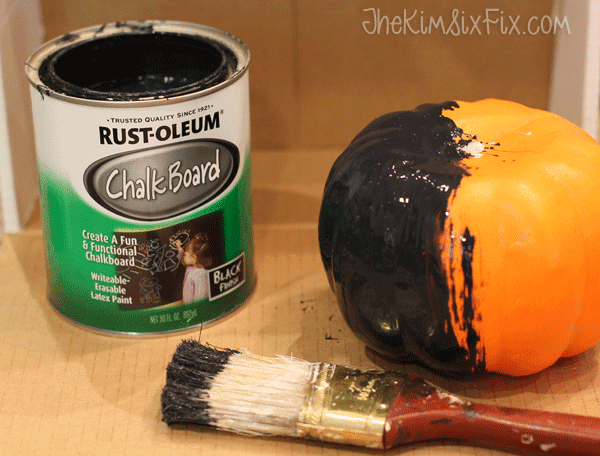 Painting pumpkins chalkboard paint