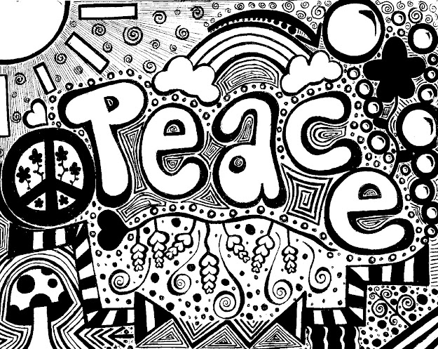 Heart Coloring Pages For Teenagers See More Peace Doodleby Kacedilla  Traditional Art  Drawings  Psychedelic