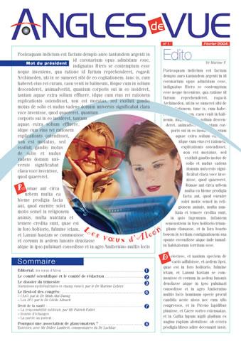 magazine ANGLES DE VUE 1 -SansException
