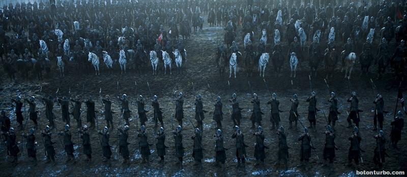 Ramsay ordenando a sus arqueros que se preparen para disparar
