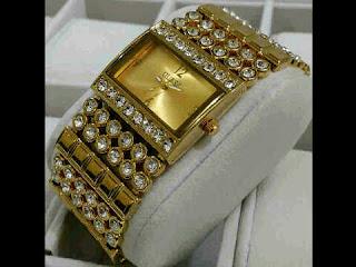 Jual jam tangan Guess rantai full mata full gold